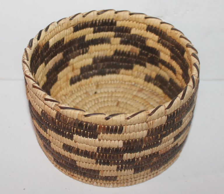 This fine Papago Indian basket is handwoven and in very good condition. Great Xmas gift for him!