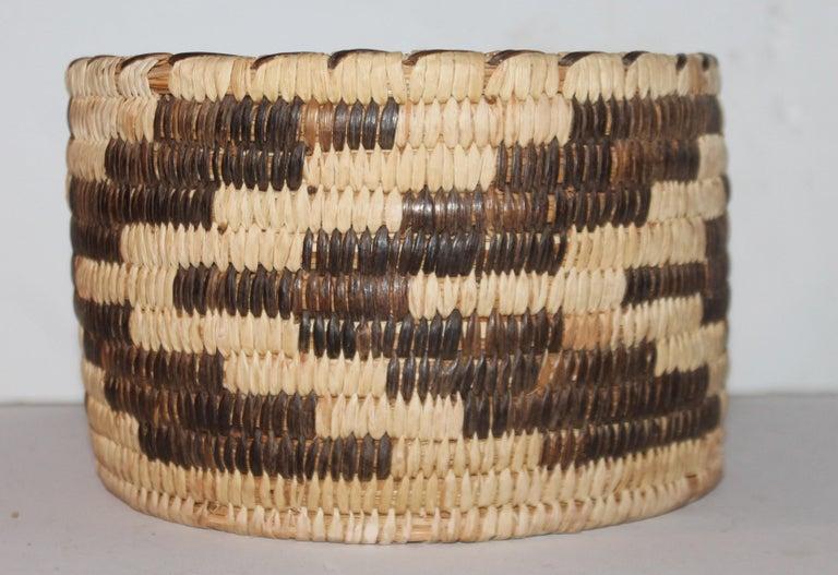 Adirondack Papago Indian Basket in Geometric Pattern For Sale