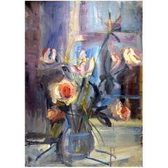 """""""Papyrus and Roses,"""" 1997 Blue Still-Life Floral Oil on Canvas by Diane Love"""