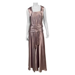 Paquin 1930's Numbered Haute Couture Bias Cut Lavender Silk Satin Evening Dress