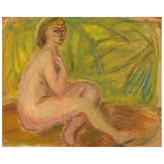 "Pär Lindblad, Swedish Artist, Oil on Board, ""Modell"", Nude Study"