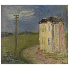 Pär Lindblad, Swedish Artist, Oil on Canvas, Modernist Landscape