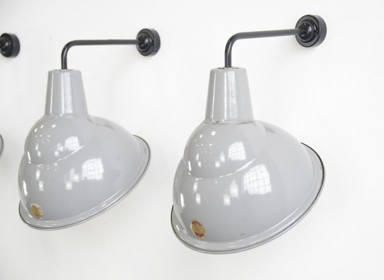 Industrial Parabolic Grey Enamel Wall Lights by Benjamin, circa 1950s For Sale