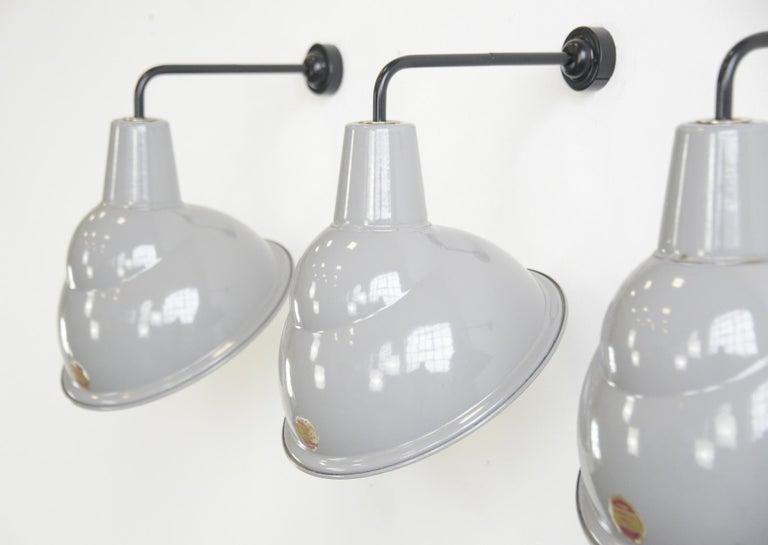 English Parabolic Grey Enamel Wall Lights by Benjamin, circa 1950s For Sale