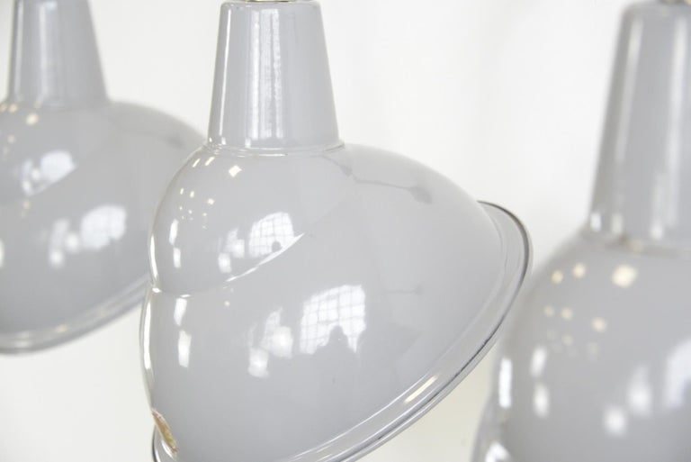 Parabolic Grey Enamel Wall Lights by Benjamin, circa 1950s In Good Condition For Sale In Gloucester, GB