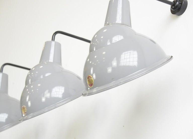Mid-20th Century Parabolic Grey Enamel Wall Lights by Benjamin, circa 1950s For Sale