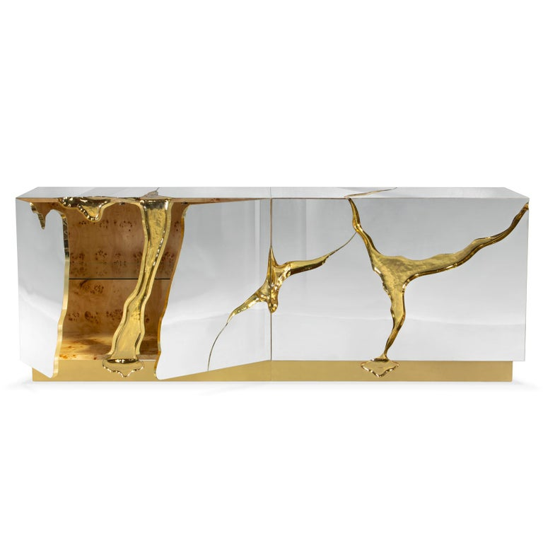 Gilt Paradise Sideboard with Solid Brass in Gold Finish For Sale