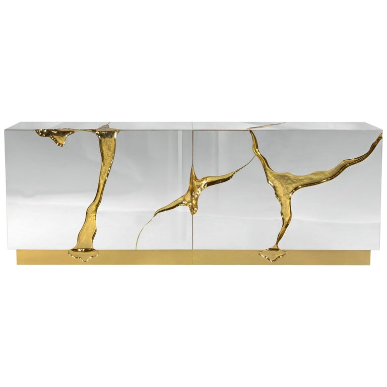 Paradise Sideboard with Solid Brass in Gold Finish For Sale