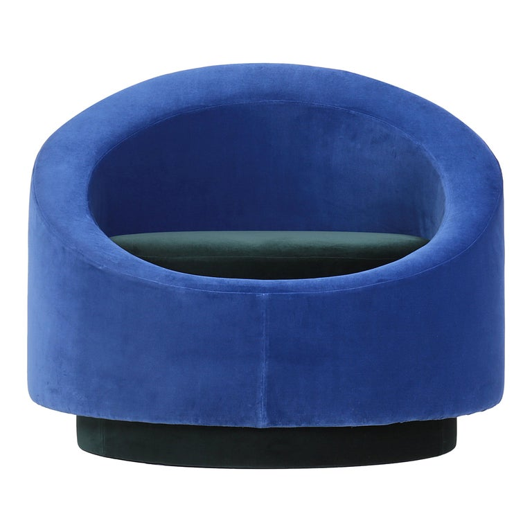 Paradisoterrestre All Around Armchair in Blue Velvet by Pierre Gonalons For Sale