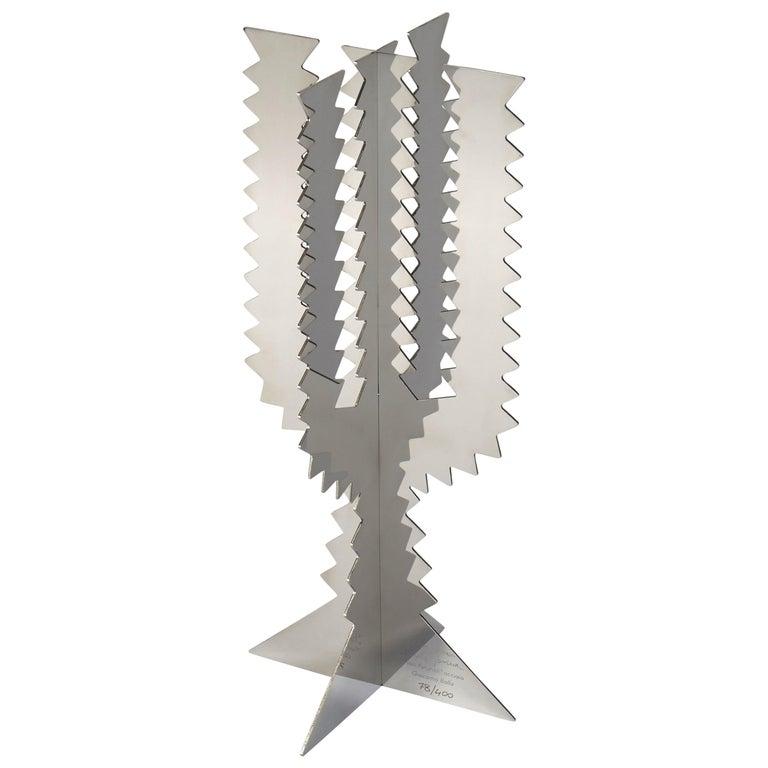 Paradisoterrestre Fiori Futuristi Cactus 45 in Mirror Steel by Giacomo Balla For Sale