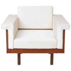 Paradisoterrestre Naeko Armchair in White with Wood Frame by Kazuhide Takahama