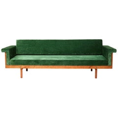 Paradisoterrestre Naeko Sofa in Green with Wood Frame by Kazuhide Takahama