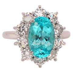 Paraiba and Diamond Platinum Ring