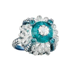 Paraiba and Diamond Ring, 3.08 Carats