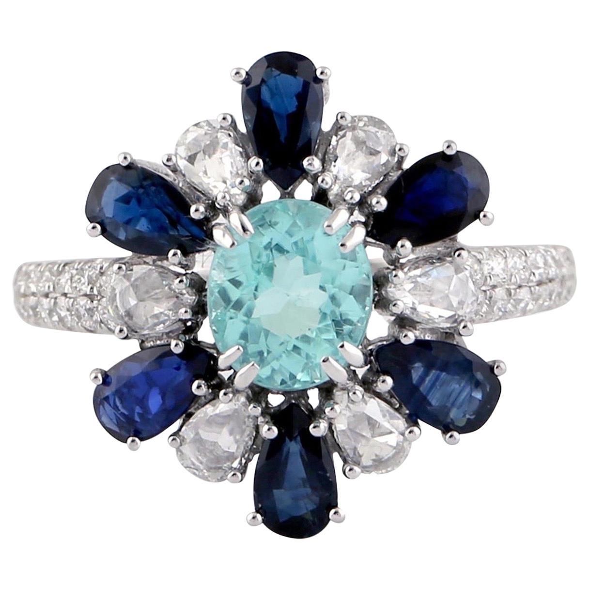 Paraiba Blue Sapphire Diamond 18 Karat Gold Ring