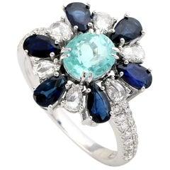 Paraiba, Blue Sapphire Diamond Ring in 18 Karat White Gold