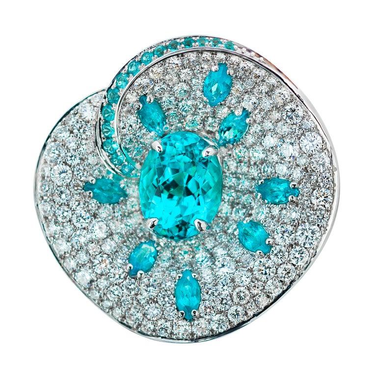 Paraiba Tourmaline 2 00 Carat Diamonds 2 40 Carat 18 Karat