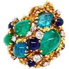 Paraiba Tourmaline and Diamond Ring by Gilbert Albert in 18 Karat Yellow Gold