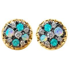 Paraiba Tourmaline Australian Opal White Diamond Stud Earrings