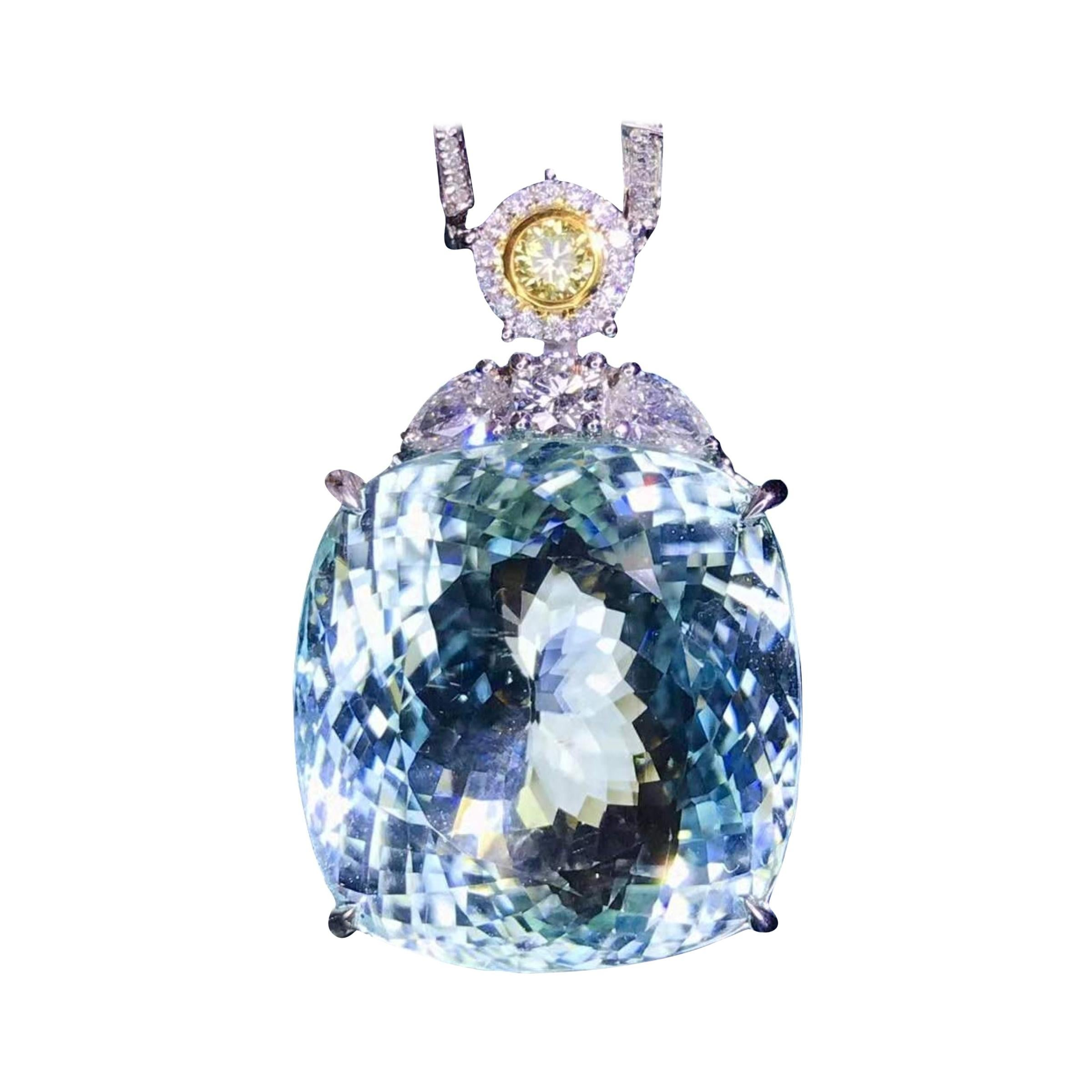 Paraiba Tourmaline Diamond Necklace 18k White Gold