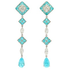 Paraiba Tourmaline Diamond Platinum Hanging Earrings
