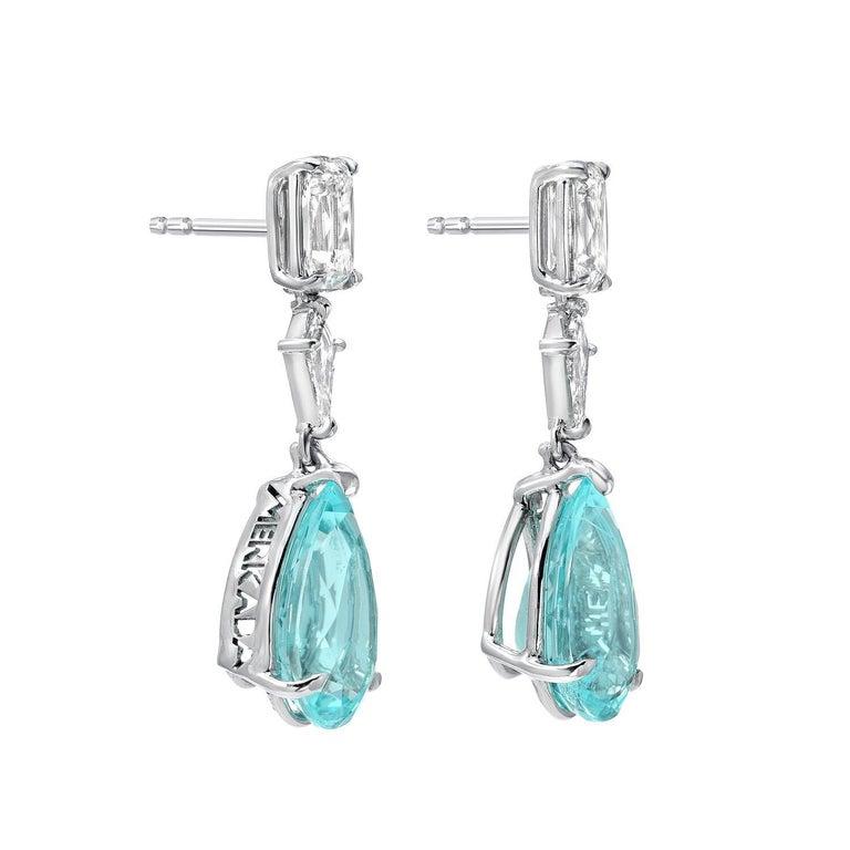 Birnenförmige Tropfen Ohrringe aus Platin mit Paraiba Turmalin und Diamanten, GIA zertifiziert 2