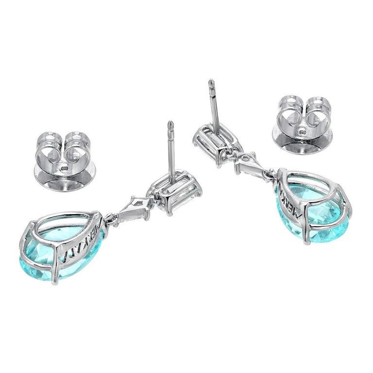 Contemporary Paraiba Tourmaline Diamond Platinum Pear Shape Drop Earrings GIA 6.26 Carat  For Sale
