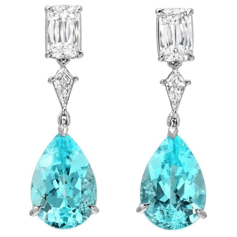 Paraiba Tourmaline Diamond Platinum Pear Shape Drop Earrings GIA 6.26 Carat  For Sale