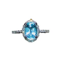 Paraiba Tourmaline Diamond Ring 18k White Gold