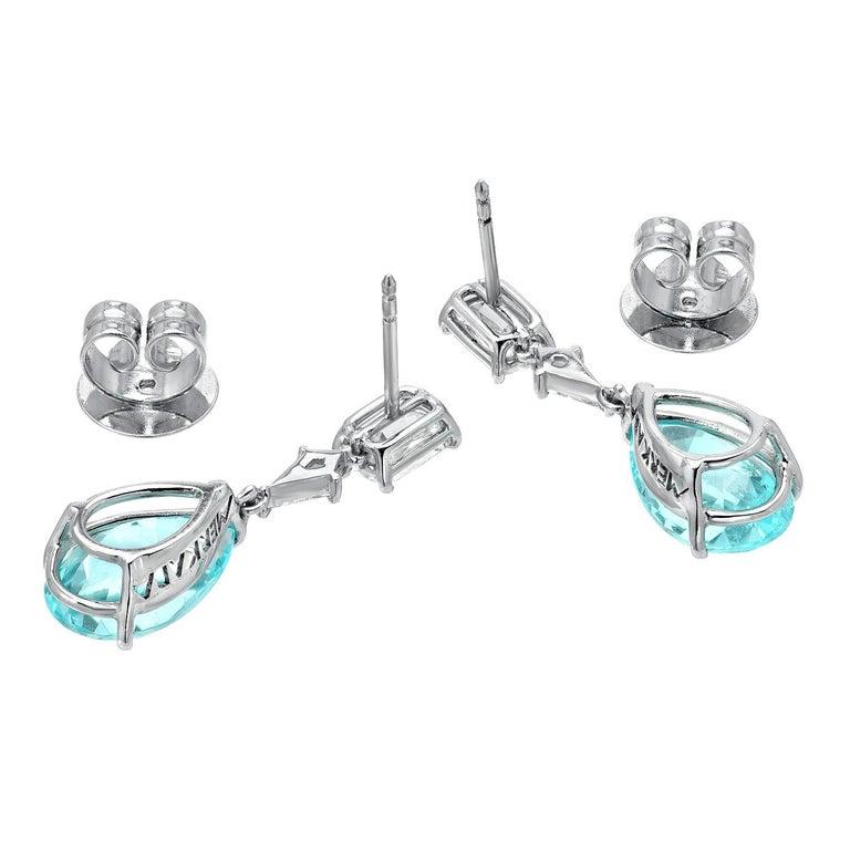 Modern Paraiba Tourmaline Earrings 6.25 Carats GIA Certified For Sale