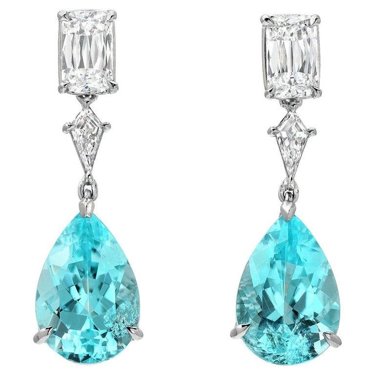 Paraiba Tourmaline Earrings 6.25 Carats GIA Certified For Sale