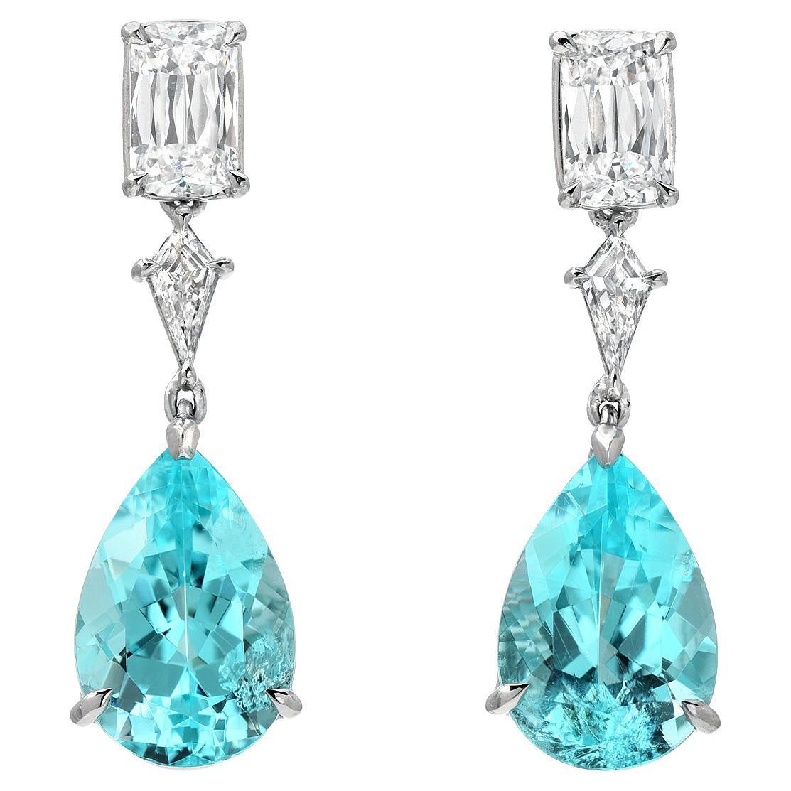 Paraiba Tourmaline Earrings 6.25 Carats GIA Certified
