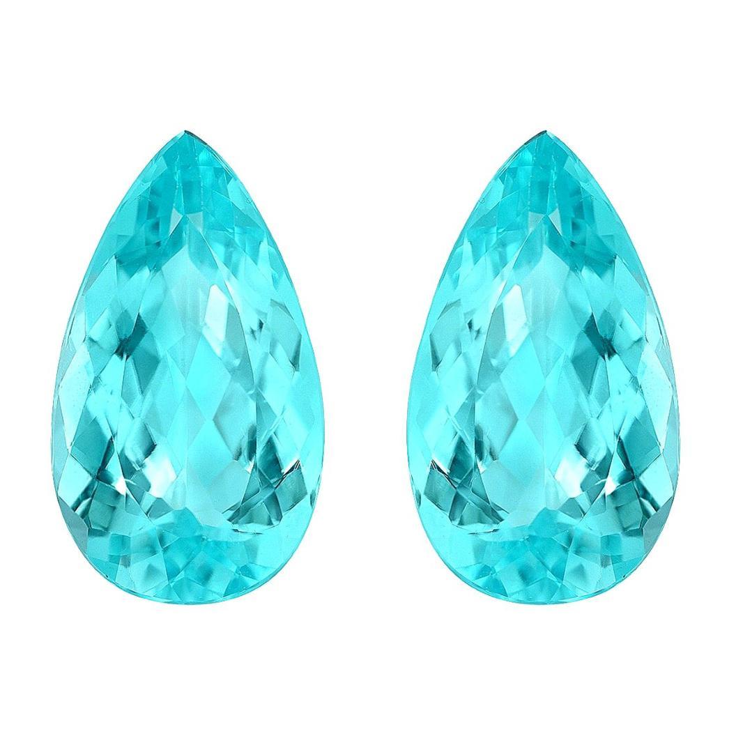 Paraiba Tourmaline Earrings Gemstone Pair 7.10 Carat Loose Gems