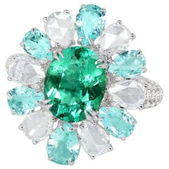 Paraiba Tourmaline Emerald Diamond 18 Karat Gold Ring