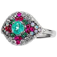 Paraiba Tourmaline, Emerald, Pink Sapphire, Australian Opal, White Diamond Ring