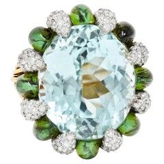 Paraiba Tourmaline Green Tourmaline Diamond Platinum 18 Karat Gold Cluster Ring