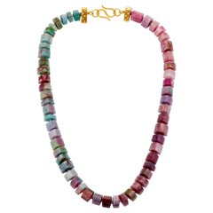 Paraiba Tourmaline Multicolored Faceted Bead Necklace, Diamond and Gold Clasp