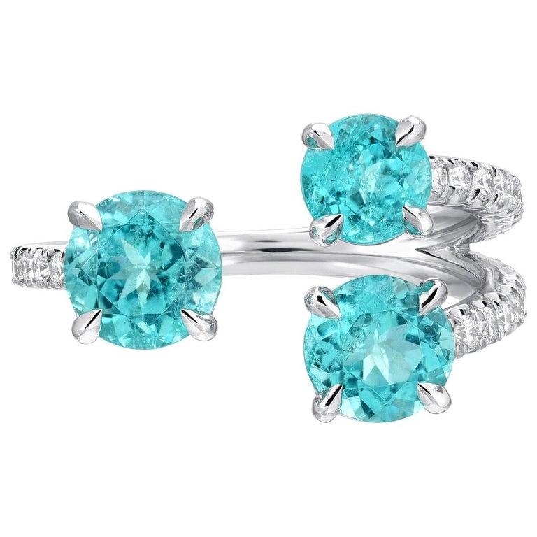 Paraiba Tourmaline Ring AGL Certified Brazil Diamond Platinum Cocktail Ring For Sale