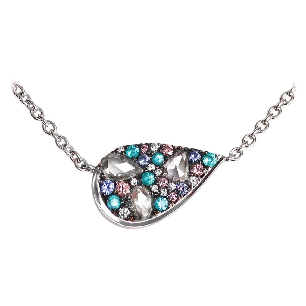 Paraiba Tourmaline Rose-Cut Diamond Pink Diamond Mosaic Pendant Necklace