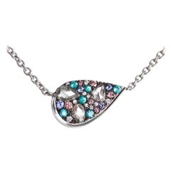 Paraiba Tourmaline Rose-Cut Diamond Pink Diamond Mosaic Pendant Necklace