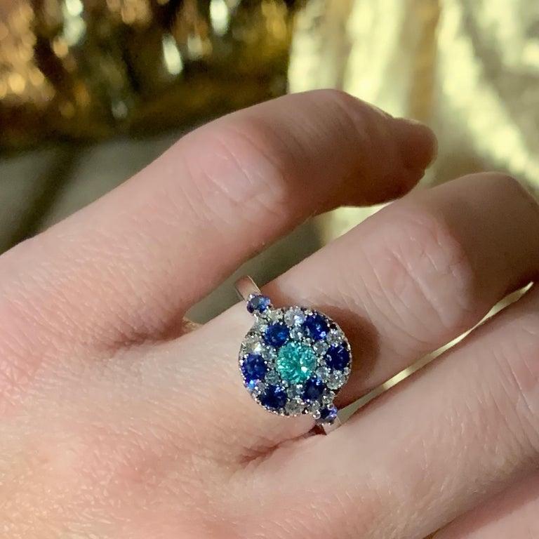 Paraiba Tourmaline, Royal Blue Sapphire, Aquamarine and White Diamond Ring For Sale 5