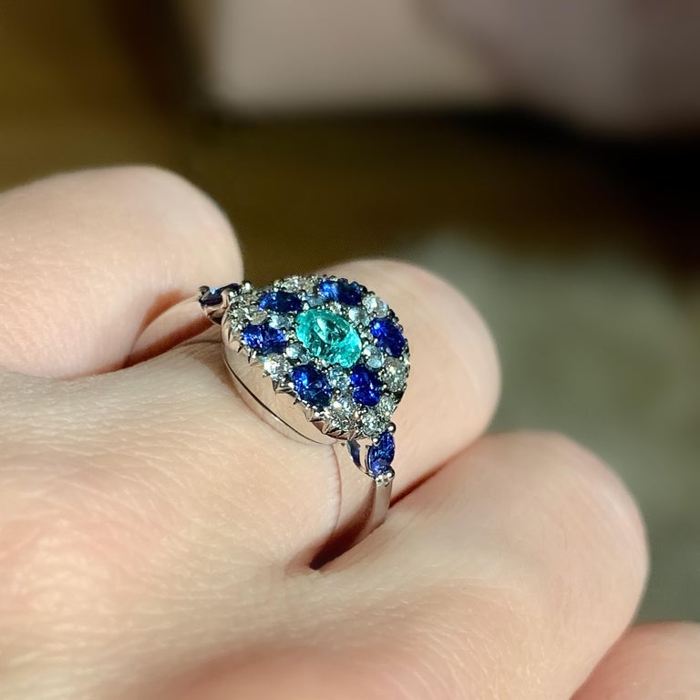 Paraiba Tourmaline, Royal Blue Sapphire, Aquamarine and White Diamond Ring For Sale 8