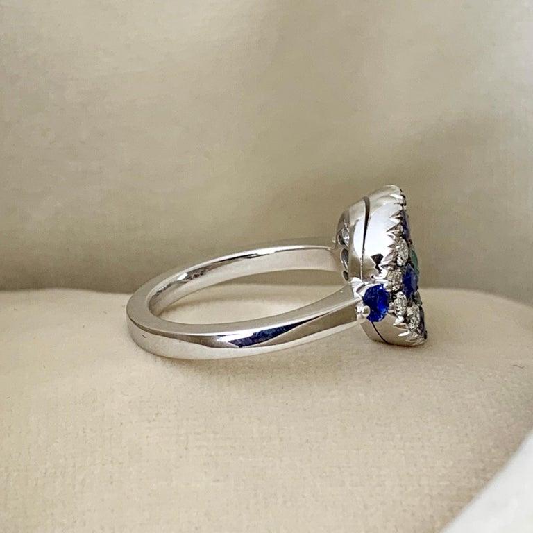 Round Cut Paraiba Tourmaline, Royal Blue Sapphire, Aquamarine and White Diamond Ring For Sale