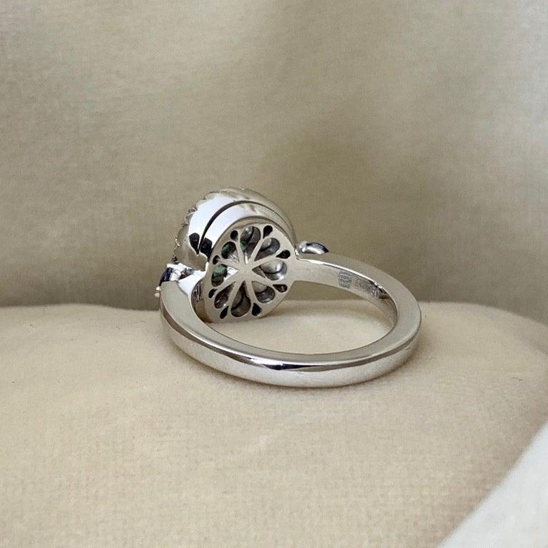 Women's Paraiba Tourmaline, Royal Blue Sapphire, Aquamarine and White Diamond Ring For Sale