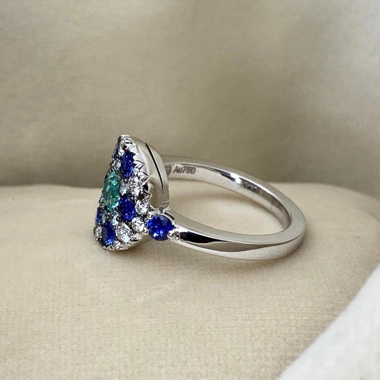 Paraiba Tourmaline, Royal Blue Sapphire, Aquamarine and White Diamond Ring For Sale 1