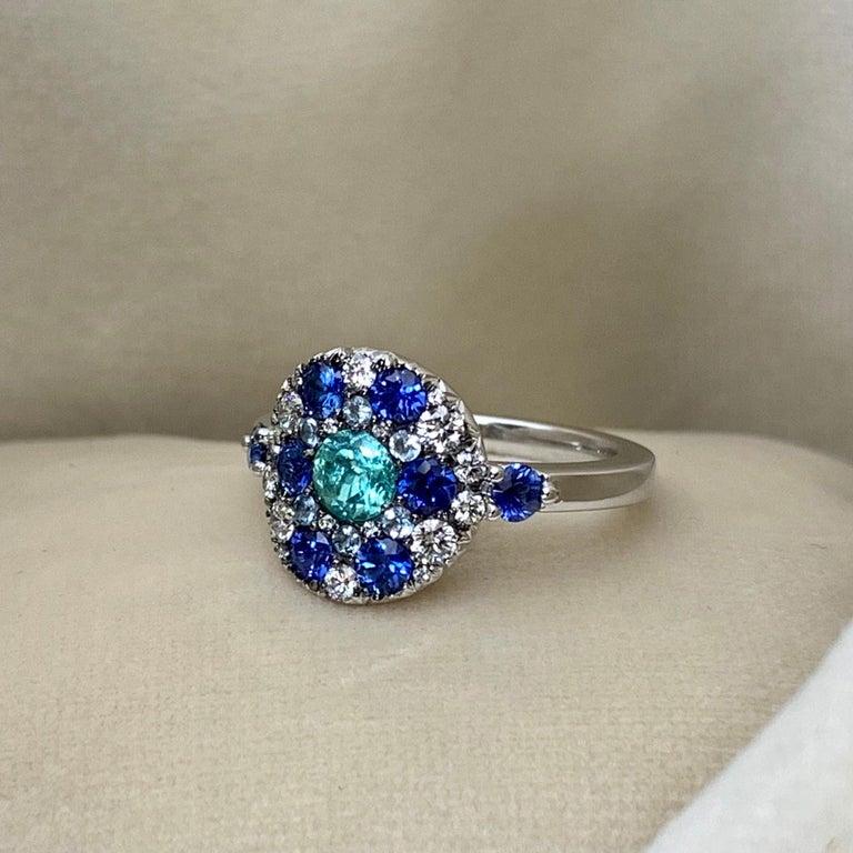 Paraiba Tourmaline, Royal Blue Sapphire, Aquamarine and White Diamond Ring For Sale 2