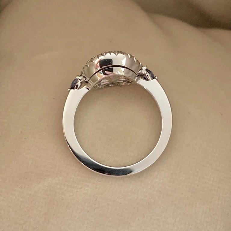 Paraiba Tourmaline, Royal Blue Sapphire, Aquamarine and White Diamond Ring For Sale 3