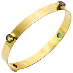 Paraiba Tourmaline, Sapphire, Green and Spessartite Garnet 18 Karat Gold Bangle