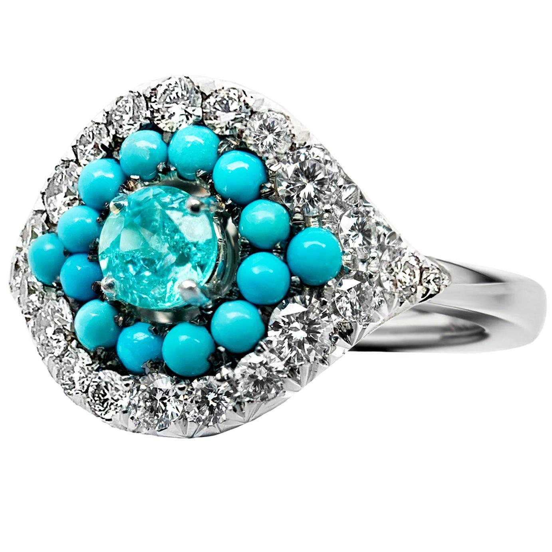 Paraiba Tourmaline, Turquoise and White Diamond Entourage Ring
