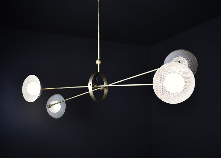 Modern Parallax Ceiling Fixture in Brass and Gray Enamel by Blueprint Lighting, 2020 For Sale